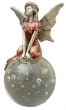 red pewter fairy on globe H11xW5cm